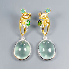 Vintage SET Natural Prehnite 925 Sterling Silver Earrings /E36383
