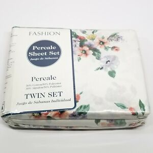 Made USA Twin Size Floral Design Sheet Set Fashion Percale Country Cottage Style