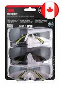 3M Pro SecureFit 400 Eye Protection Safety Glasses, Black Frame and 3 Lens Style