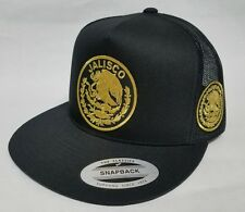 JALISCO   MEXICO   HAT MESH TRUCKER  BLACK 3LOGOS  SNAP BACK ADJUSTABLE  NEW
