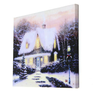 40x30cm LED Light Christmas Snow Houses Canvas Arts Picture Printing Wall Decor