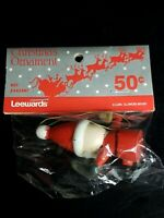 Vintage LeeWards Santa With Bell Christmas Ornament New In Original Unopened