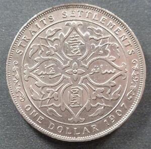 Straits Settlements - Edward VII, Silver 1 Dollar, 1907, lustrous