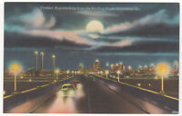 Savannah GA Postcard Cars on Viaduct Approaching From North Night Vintage Linen
