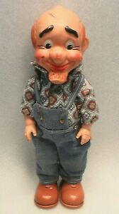"""VINTAGE PAPPY YOKUM TOY BABY BARRY DOLL 13"""" TALL RUBBER HOLLOW BODY WITH CLOTHES"""
