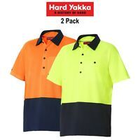 Mens Hard Yakka Koolgear Hi-Vis 2 Pack Short Sleeve Safety Polo Shirt Y11396