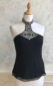 NEW - NEXT Black Chiffon Art Deco Silver Bead Sequin Halter Neck Blouse Top 10