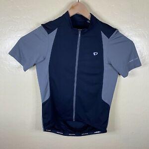 Pearl Izumi Cycling Jersey Shirt Mens Large Black Gray Full Zip Short Sleeve