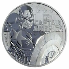 2019 Tuvalu Marvel Series Captain America 1 oz Silver Capsuled BU Coin IN-STOCK!