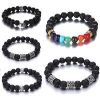 7 Chakra Healing Beads Bracelet Natural Volcanic Stone Diffuser Charm Jewelry
