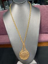 1972 Eisenhower Dollar Coin Pendant Necklace W/ Woven Round Gold Tone Chain 26""