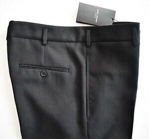 "🆕️ Auth SAINT LAURENT Solid Black 100% WOOL FLAT Front Dress Pants EU-46 US-31"""