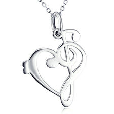 "18"" Treble Clef Bass Heart Music Note Song Necklace 925 Sterling Silver Pendant"