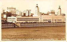 Real Photo Postcard Harbor Front from Hawthorne Bridge in Portland Oregon~111387