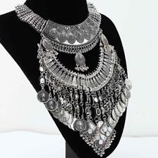 Jewelry Bohemian Gypsy Tribal Silver Plated Coins Collar Bib Statement Necklace
