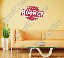 "Let's Play Hockey Stick Puck Grunge Wall Sticker Room Interior Decor 25""X20"""