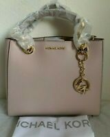 NWT MICHAEL KORS Cynthia Small Dressy Leather Satchel Bag $298 Soft Pink Origina