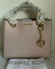 NWT MICHAEL KORS Cynthia Small Dressy Leather Satchel Bag $298 Soft Pink Origina