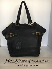 YSL DOWNTOWN  Black Pebble Leather Handbag
