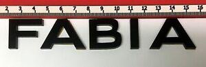 "SKODA ""FABIA"" GLOSS BLACK REAR BADGE LOGO LETTERS BESPOKE 3mm ACRYLIC 3M BACKING"