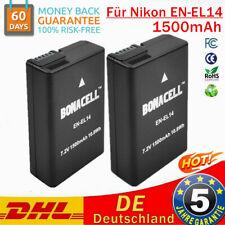 2× 1500mAh Akku für Nikon EN-EL14 EN-EL14a D3300 D5300 D5500 D5600 P7700 ACCU FD