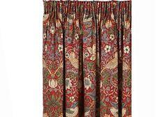 "William Morris Strawberry Thief Crimson Ready Made Curtains Lined 75""x54"""
