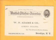 Unused c1892 Grant Postal W Adams Lumber Dealers Brooklyn NY Back Blank z33