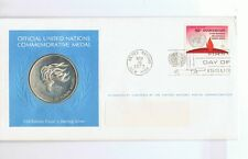 1973 UNITED NATIONS SILVER MEDAL & FDC stm HUMAN RIGHTS