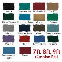US 7/8/9ft Worsted Billiard Pool Table Cloth Billiard Felt with Cushion Rail