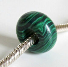 MALACHITE GREEN Howlite STONE Abacus BEAD For 3mm European Charm Bracelet