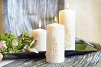 Provence Roses Pillar Candle Home Decor Wedding Gift Long Time Burning
