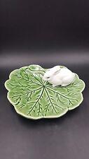 Bordallo Portugal Majolica Green Leaf Plate with White Bunny