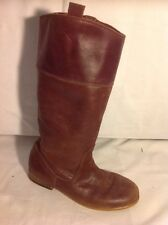 Girls Zara Brown Leather Boots Size 35