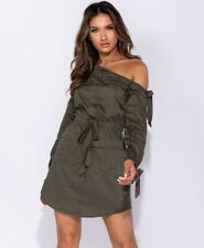 One Shoulder Utility Style Tie Waist Mini Dress Khaki