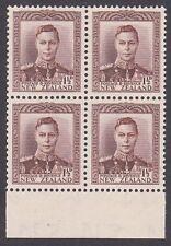 NEW ZEALAND 1938 GVI 1½d brown block of 4 MNH SG cat £104...................2935