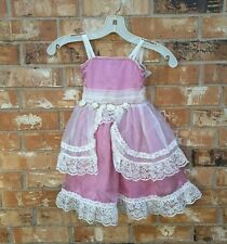 Princess Little Girl Dress Pink and Cream Lace Ruffled Tulle Party Dress Size S