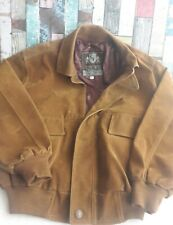 Mens Brown Suede Bomber Jacket Sz XL Hand made GV Italy Autunm winter casual