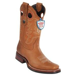 Men's Wild West Genuine Leather Western Boots Rodeo Square Toe Rubber Sole