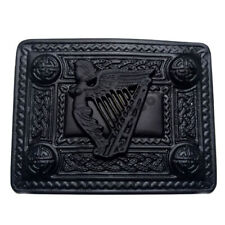 TC Scottish Kilt Belt Buckle Irish Harp Celtic 4 Demo Jet Black Kilts Buckles