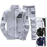 New Men 2Pcs/set Sports Tracksuit Hoodie Tops + Pants Suit Gym Slim Fashion