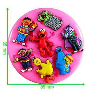 Sesame Street Elmo and friends Silicone Mould by Fairie Blessings