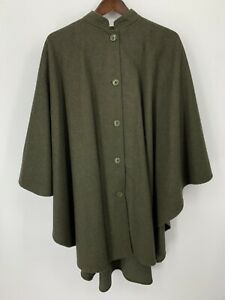 Daniel Hechter Paris Cape Womens 36 L Wool Blend Coat Button Front Army Green