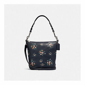 NWT COACH MINI ABBY DUFFLE WITH ROSE BOUQUET PRINT 91022 SV/MIDNIGHT MULTI