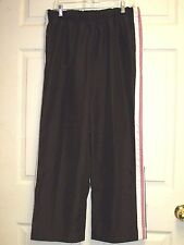 SJB ACTIVE Women's Athletic Work Out Pants Brown w/ Pink & White Trim Size L EUC