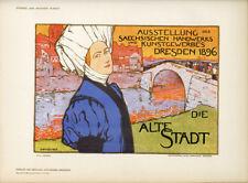 "Orig 1897 litho ""Alte Stadt Dresden 1896"" by Otto Fisher – Das Moderne Plakat"