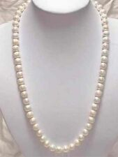 "25"" Beautiful White Akoya Cultured Pearl Necklace 7-8mm"