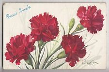 CPA  FANTAISIE -  FLEUR FLOWER OEILLET ROUGE BONNE ANNEE VOEUX 1917 BARDE ~B33