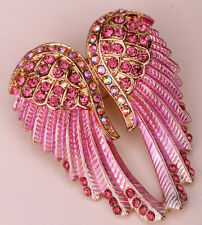 Angel wing brooch pendant pin BD03 women biker punk bling jewelry gift gold pink