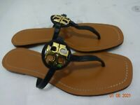 Tory Burch Mini Miller Womens Size 8.5M  Black Leather Gold Logo Thong Sandals