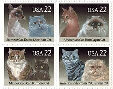 1987 Cats Block of 4 US Postage Stamps x 22c #2372-75